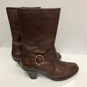 Born Brown Leather Mid-Calf Heeled Boots Sz 7.5